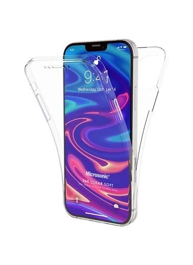 Microsonic Apple iPhone 12 Pro Max Kılıf 6 Tarafı Tam Full Koruma 360 Clear Soft Şeffaf Renksiz